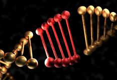 The DNA molecule with defective gene 3d illustration. The DNA molecule with defective gene 3d render Stock Photos