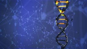DNA molecule is destroyed and mutates rotating stock illustration