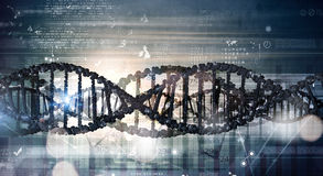 Dna molecule. Digital blue image of DNA molecule and technology concepts royalty free stock photos