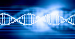 Dna molecule. Digital blue image of DNA molecule and technology concepts Stock Photo