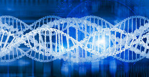 Dna molecule. Digital blue image of DNA molecule and technology concepts stock image