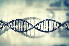 Dna molecule. Digital blue image of DNA molecule and technology concepts Royalty Free Stock Image