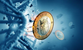 DNA molecule and euro coin Royalty Free Stock Photo