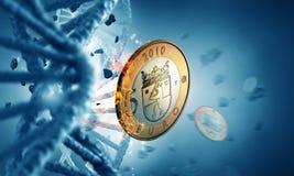 DNA molecule and euro coin Royalty Free Stock Photo