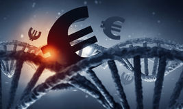DNA molecule and euro sign Royalty Free Stock Photos