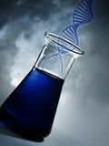 DNA molecule in the flask. The clouds in the background stock images