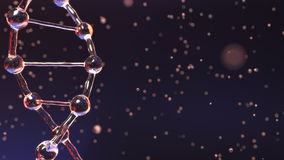 DNA molecule and floating droplets, shallow focus. Biochemistry, medical test or genetic research concepts. 3D rendering. DNA molecule and floating droplets Stock Images