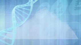 DNA-molecule het roteren en grafiek die zich tegen blauwe achtergrond beweegt stock illustratie