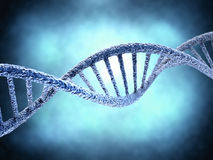 DNA molecule over abstract background. DNA molecule over blue abstract background. Biology, science and medical technology concept Royalty Free Stock Photos