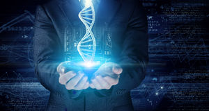DNA molecule research . Mixed media. Hand of businessman holding dna molecule concept. 3D rendering Stock Image