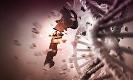 DNA molecule research  . Mixed media Stock Photo