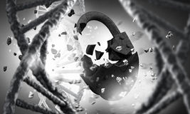 DNA molecule research . Mixed media Royalty Free Stock Image