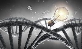 DNA molecule research . Mixed media Stock Photos