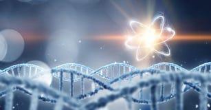 DNA molecule spiral. Mixed media Stock Photography