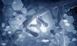 DNA molecule spiral. Mixed media Royalty Free Stock Photos