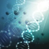 DNA molecule structure on a green background. Science vector background Stock Photo