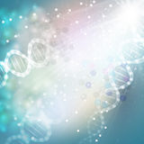 DNA molecule structure on light blue background. Science vector background Stock Images