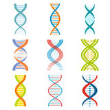 DNA and molecule symbols set. For chemistry or biology concept design Royalty Free Stock Photos