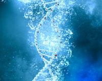 DNA molecule in water. DNA molecule in clear crystal blue water Royalty Free Stock Images