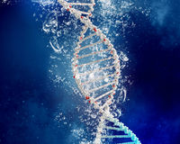 DNA molecule in water. DNA molecule in clear crystal blue water stock photo