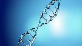 DNA-molecule in water 3d illustratie over blauwe achtergrond 4K royalty-vrije illustratie
