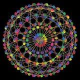 DNA-Moleculefractal Netwerkstructuur Het kleurrijke die DNA-concept van de koordverbinding, op zwarte achtergrond wordt geïsoleer Royalty-vrije Stock Fotografie