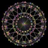 DNA-Moleculefractal Netwerkstructuur 01 Het kleurrijke die DNA-concept van de koordverbinding, op zwarte achtergrond wordt geïsol Stock Fotografie