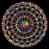 DNA-Moleculefractal Netwerkstructuur 01 Het kleurrijke die DNA-concept van de koordverbinding, op zwarte achtergrond wordt geïsol Royalty-vrije Stock Foto's