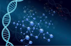 Dna and Moleculer on blue background Royalty Free Stock Image