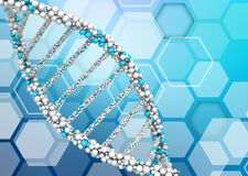 DNA molecules on an abstract background. Of hexagons Royalty Free Stock Images