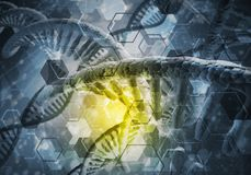 DNA molecules background. Background image with DNA molecule research concept stock photo