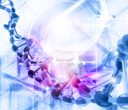 DNA molecules background. Digital illustration of DNA molecules background stock illustration