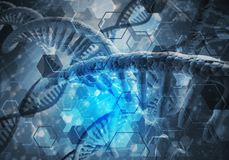 DNA molecules background. Background image with DNA molecule research concept stock image
