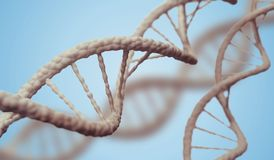 DNA molecules on blue background. 3D rendered illustration Royalty Free Stock Images