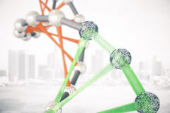 DNA molecules on city background. Abstract red and green DNA molecules on city background. 3D Rendering Royalty Free Stock Photography