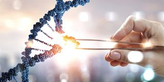 DNA molecules design with female hand holding pincers. Mixed media. DNA molecules with female hand holding pincers. Mixed media royalty free stock image
