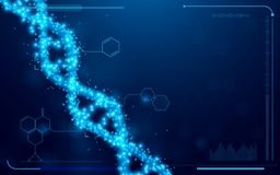 DNA and molecules interface virtual future technology system health and care info concept on blue background. Space for your text stock illustration