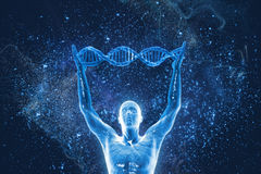 DNA molecules and men. On the beautiful background Royalty Free Stock Photography