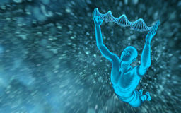 DNA molecules and men. On the beautiful background stock illustration