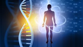 DNA molecules and men. Futuristic science. 3d illustration vector illustration