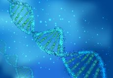 DNA molecules on sciences on blue background Royalty Free Stock Photos