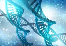DNA molekuł tło, 3D rendering Obrazy Stock