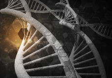 DNA molekuł tło, 3D rendering Zdjęcia Royalty Free