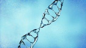 DNA molekuła w wodnej 3d ilustraci nad błękitnym tłem 4K ilustracji