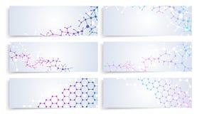 Dna molekuły struktura, komórki mózgowe podłączeniowe Wektorowej chemii medyczni sztandary ustawiający Fotografia Royalty Free