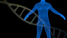 DNA och blå människa Arkivfoto