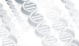 Dna- och läkarundersökning- och teknologibakgrund futuristisk molekyl Royaltyfria Bilder