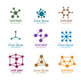 Dna- och molekylvektorlogoer för tech, medicin, vetenskap, kemi, bioteknik vektor illustrationer
