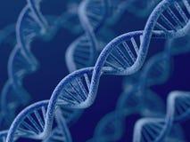 DNA op blauwe achtergrond Stock Afbeeldingen