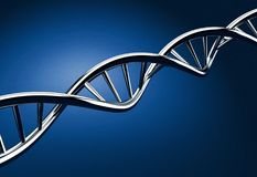 DNA på blå bakgrund Arkivbilder